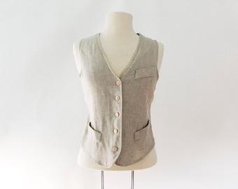 Vintage 80s Linen Rayon Vest - Tailored Tie-Back Women's Vest