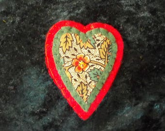 Liberty Print Heart Brooch/Leafy Heart Brooch/Floral Heart Brooch