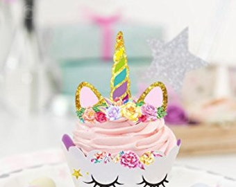 Unicorn Cupcake Wrapper and Cake Topper | Magical Birthday Party Decorations | Amazing Rainbow and Sleeping Unicorns Design by PartyFuFu