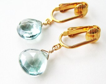 Pale Moss Green Clip Earrings, Light Green Faceted Stone Teardrop Dangle Clip-on Earrings for Non Pierced Ears, Gold Ear Clips, Dainty Moss