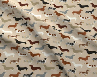 Dachshund Dog Fabric - Dachshund Doxie Pet By Petfriendly - Dachshund Fabric With Spoonflower - Cotton Fabric By The Yard With Spoonflower