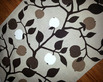Scandinavian printed  table runner in linen and cotton on beige bottom with fruit trees in brown Sweden 1970s.