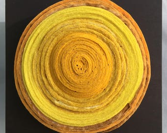 Felted circle wall piece, contemporary craft  #SQ59