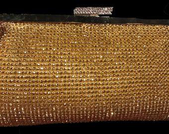 New Gold  Rhinestone Mesh  Soft Clutch Evening Handbag