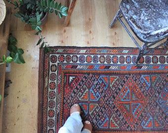 "antique Caucasian rug, happy bohemian runner rug, rustic faded geometric rug 6'10"" x3'3"""