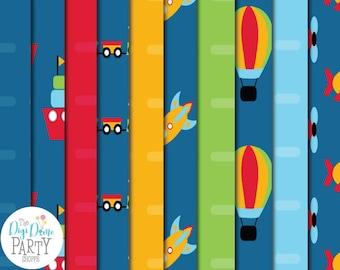Transport Vehicles Digital Scrapbooking Paper Pack, Buy 2 Get 1 FREE. Instant Download
