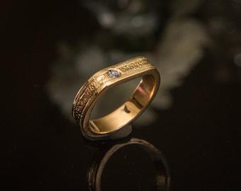 Gold Tanzanite Ring Tanzanite Wedding Band Hammered Band Rustic Tanzanite Ring Milgrain Ring Tanzanite Gemstone Band Unique Wedding Band
