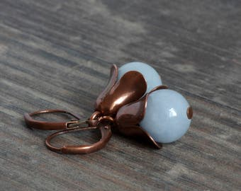 Small copper earrings with jade in pastel blue