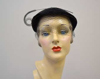 1950s May Co. Black Velvet and Feather Hat