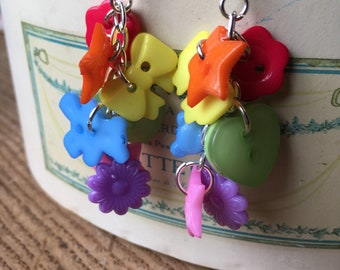 Chunky rainbow, dangley/drop, statement button earrings.