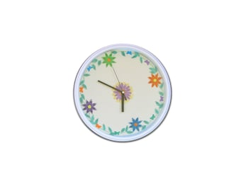 Quilling Wall Clock, Flower Quilled Clock, Paper anniversary gift, Modern clock, Home Decoration, Wall decor, Wall Art, Flower wall decor