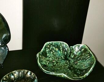 Handmade Pottery Decorative Bowl, Unique Shape, Leaf Embossed, Greens, Blues, Brown