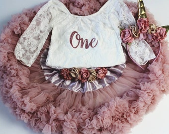 Baby Girl First Birthday Outfit - 1st Birthday One Outfit - Baby Girl Rose Pink Tutu - Lace Onesie - Cake Smash Outfit