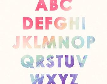Kids Wall Art - Alphabet Art Print 8x10 / A4, Children's or Toddler Room Decor, Rainbow Watercolour