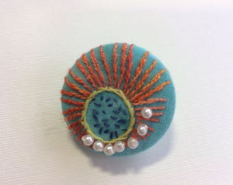 Hand embroidered button brooch