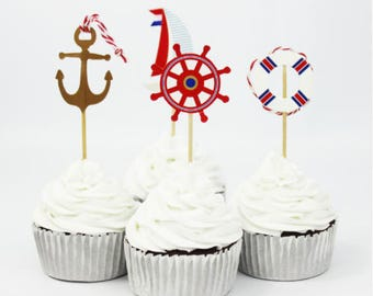 Nautical Cake, Cupcake Toppers (12)