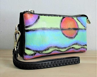Hand Painted Abstract Art Clutch Bag Wristlet Purse Handbag