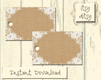 Rustic favor tags wedding printable Lace Doily wedding