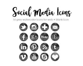Social Media Icons 51 social media buttons Blog Website Clipart Watercolor grey Graphics PNG Instant download