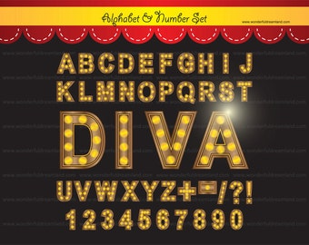 Hollywood Broadway Alphabet and Number Set 2 - PDF PNG Instant Download Printable Clipart Clip Art Digital File