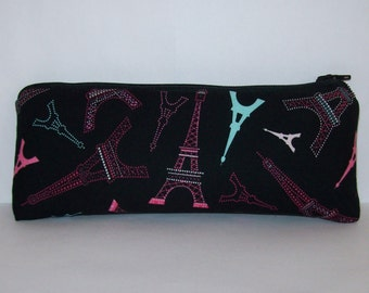 "Pipe Pouch, Eiffel Tower Pouch, Pipe Case, Pipe Bag, Girly Pouch, Paris Gift, Padded Pouch, Glass Chillum Cozy, Vape Pen Case - 7.5"" LARGE"
