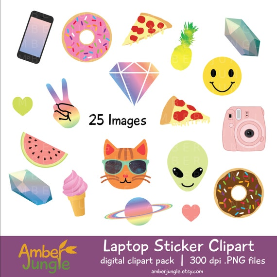 Laptop stickers clipart blogger girl tumblr clip art blog emoji printable planner sticker instant download alien cat pizza donut tumbler from