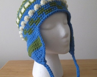 Hat - Crocheted Earflap Hat for Men and Boys in Green, Blue and White