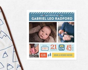 Baby announcement, Birth announcement, photo baby announcement, birth stats card, printable birth, baby boy announcement, baby information