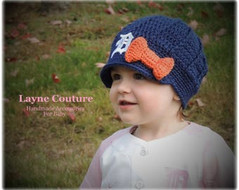 CLEARANCE!! Ready to Ship!! The Original- Detroit Tigers Inspired Newsboy Hat with Bow / Layne Couture
