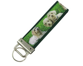 Personalized Key Chain / Key Fob Maltese Dogs With Optional Initials