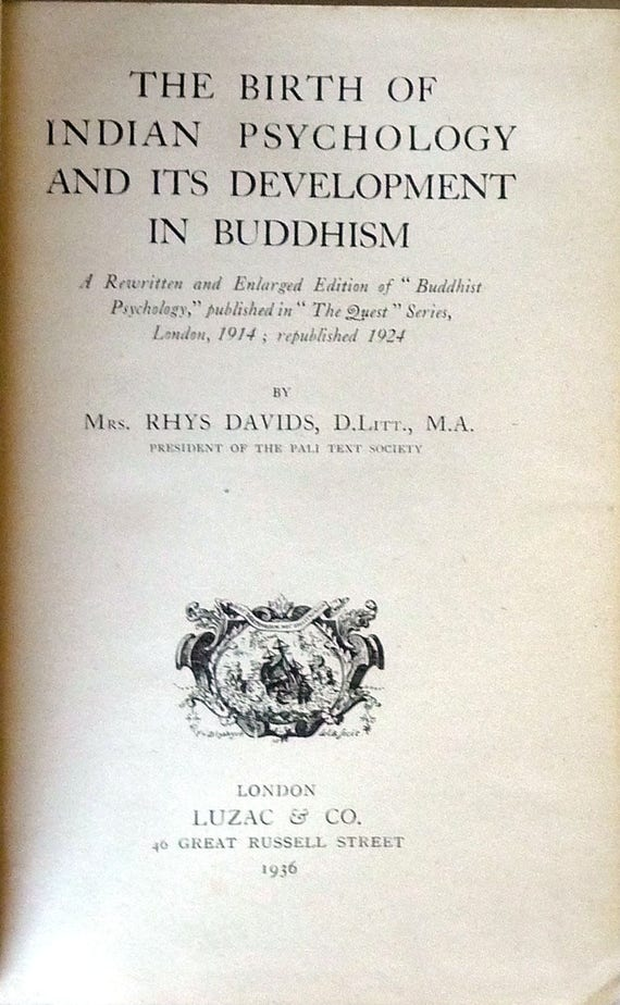 The Birth of Indian Psychology and Its Development in Buddhism 1936 Mrs. Rhys Davids - Hardcover HC - Religion Spirituality