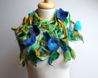 Sapphire Blue Floral Scarf Spring Flowers Green Felt Lariat Spring Fashion Belt Headband Bloom Celeste Deep Sky Blue Folk  Boho Style