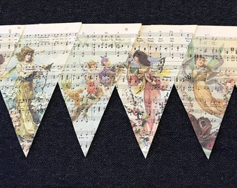 Vintage whimsical Fairies Music Sheet Banner
