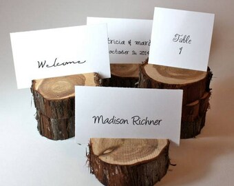 Rustic Place Card Holder, Wood slice Escort Card Holder, tree slice Table Numbers, Menu Card, Set of 10, table decor, centerpiece, display