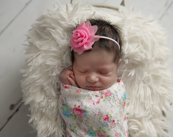 Stretch Lace Wrap in Pink and Blue Floral Print AND/OR Pink Chiffon Flower headband, newborn swaddle, newborn photo, Lil Miss Sweet Pea