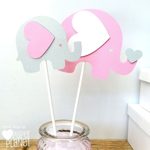 Gianna S Pink And Gray Elephant Nursery Reveal: Elephant Centerpiece Or Cake Smash Topper In Pink & Grey. Baby
