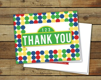Printable thank you notes, sesame street thank you cards, instant download