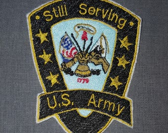 Army Still Serving Iron on No Sew Patch Applique