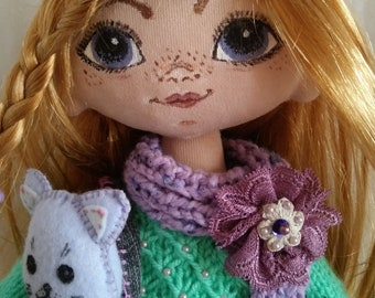 Dasha doll with a cat.
