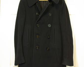 Genuine US Navy Pea Coat Heavy Duty Double Breasted 10 Button Wool Coat with Chin Strap 40 Inch Chest Size