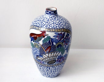 Antique Vase, 19th Century William Adams, English Pottery Chinese Bird Pattern