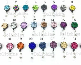 Multi - Colors Rhinestone Badge Reel Retractable ID Badge Holder 25 Colors