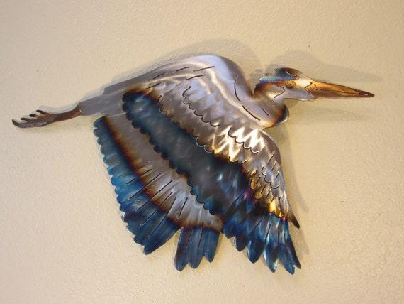 great blue heron crane coast coastal steel decor marine ocean