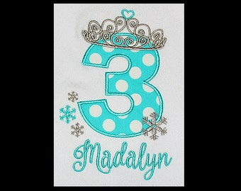 Custom Personalized Applique ICE PRINCESS Birthday Number with Crown, Snowflakes, and NAME Shirt or Bodysuit - Aqua Ta Dots and Gray