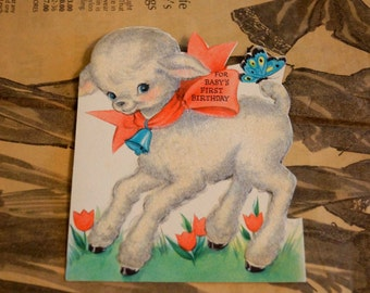 Vintage Baby's First Birthday Card