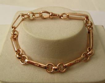 Genuine SOLID 9K 9ct ROSE GOLD Albert Bracelet with Swivel Clasp 19.5 cm