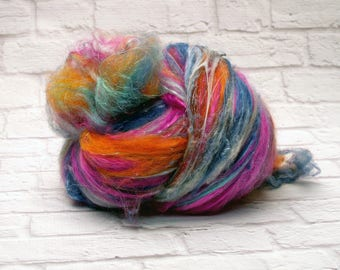 "Fiber Batt, Art Batt, Fiber Art Batt for Spinning or Felting- ""Wander Lust"", 4 ounces"