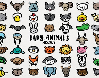 Baby Animals Icons Clipart - hand sketched icons, diy baby shower illustrations, make cupcake toppers and invitations, animals clipart