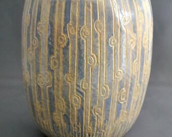 Twilight in the Park - Ceramic Vase, handmade vase, earthenware pottery, pottery vase, sgraffito, pottery bowl, ceramic bowl, flower vase