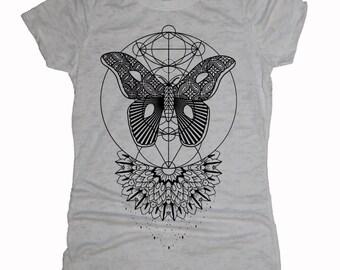 Women's Mothlight Mandala Tee Sacred Geometry Dotwork Tattoo Style Moth Shirt